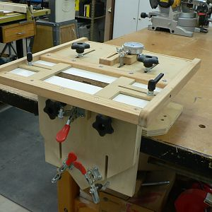 ShopNotes Mortising Jig w/Micro-adjust table.
