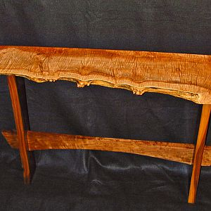 Fiddleback Maple & Walnut Sofa Table