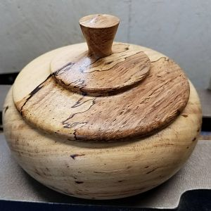 Pecan lidded bowl