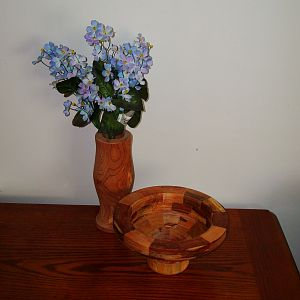 segmented bowl and cedar vase