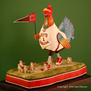 USC Booster Rooster wood carving LeftShldrAll