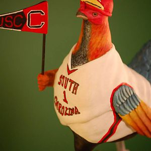 USC Booster Rooster wood carving LeftShldr