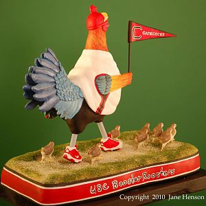 USC Booster Rooster wood carving RtRear