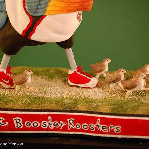 USC Booster Rooster wood carving Chicks