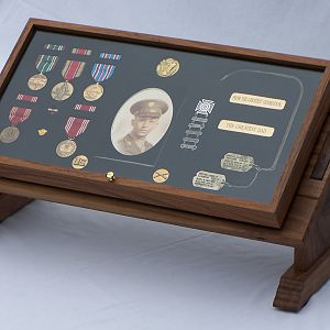 Dad's WWII display case and podium