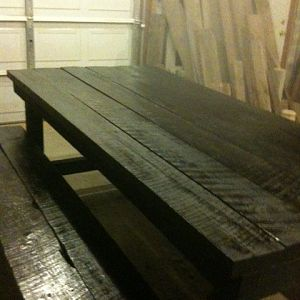 Barn Wood Table and Bench in Black
