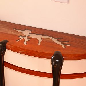 Demilune table in Padauk with ebonized maple legs
