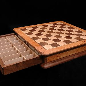 Walnut and maple chessboard