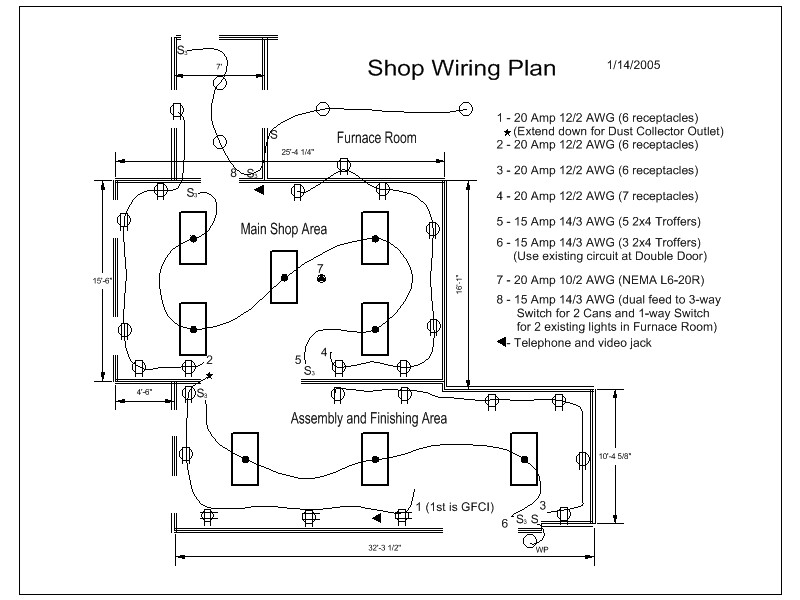 Shop Wiring Diagram | NC Woodworker | Woodworking Shop Wiring Diagrams |  | NC Woodworker